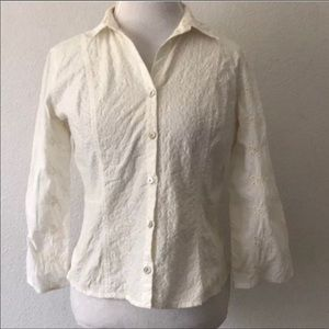 J. Jill Button Front Embroidered Eyelet Blouse